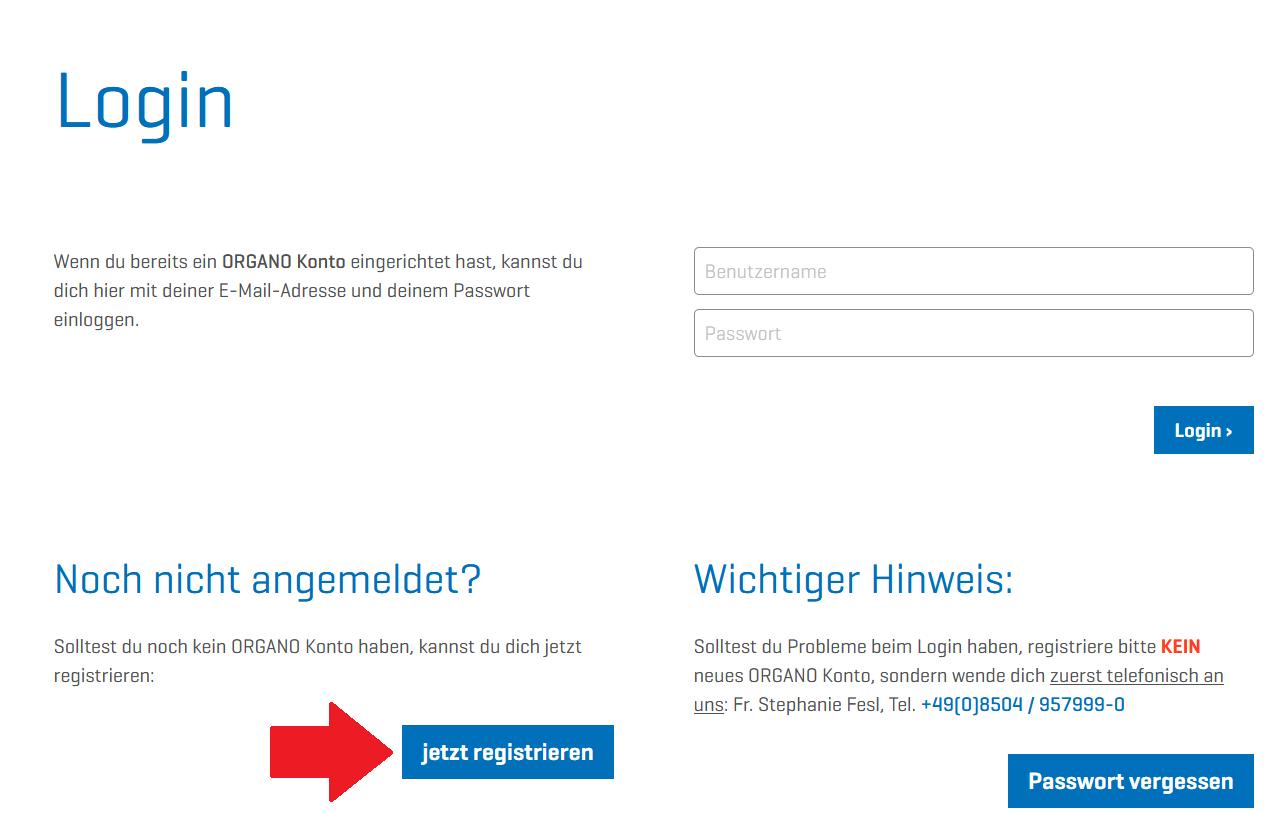 Organo registrieren